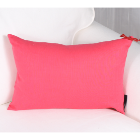 Coussin ramie corail